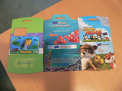3 Blockbuster Video Gift Cards No Value Shark Tale, Over the Hedge, Finding Nemo