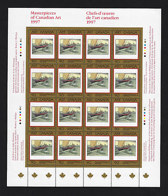 Canada -Full Pane of 16 -Masterpieces: York Boat on Lake by W Phillips #1635 MNH