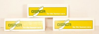 3 Osaga Plastic Signs 70s Running Shoe Store Display Yellow Green Logo Advertise