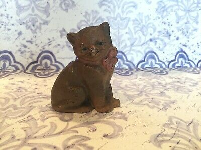 Antique iron cast cat doorstop with bow figurine hand painted collectible