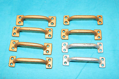 8 Vintage Ives Bar Sash Lifts - 6 Bright Brass Plated / 2 Cast Aluminum