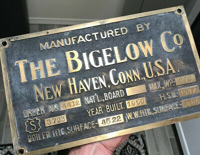 Antique Brass The Bigelow Co Steam Plaque Sign Industrial Boiler Engineering