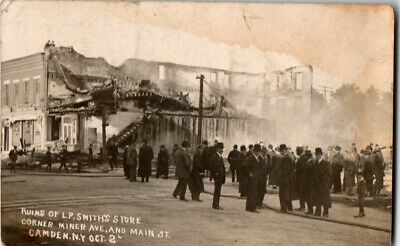 S21.1964 RPPC Postcard Disaster Fire Ruins LP Smith's Store Camden NY c 1910
