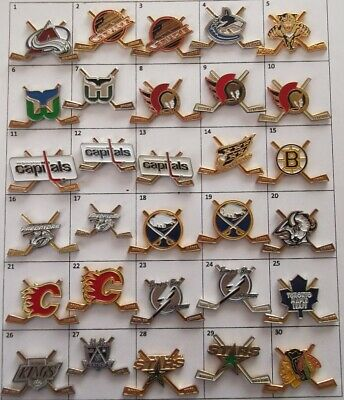 Different Teams Nhl Hockey Crossed Hockey Sticks Logo Pin (Your Choice) # G847