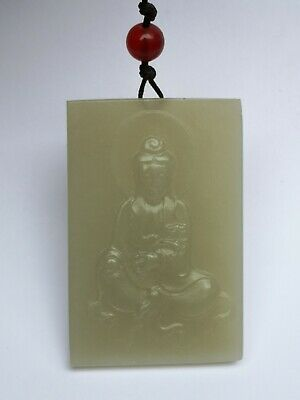 Collection Old China Xinjiang Jade Carving Avalokitesvara Statue Amulet Pendant