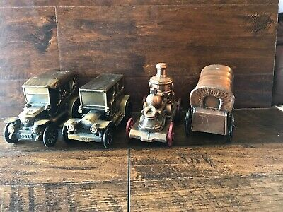 Vintage Banthrico Metal Car Banks Bronze Finish Lot of 4 Wagon