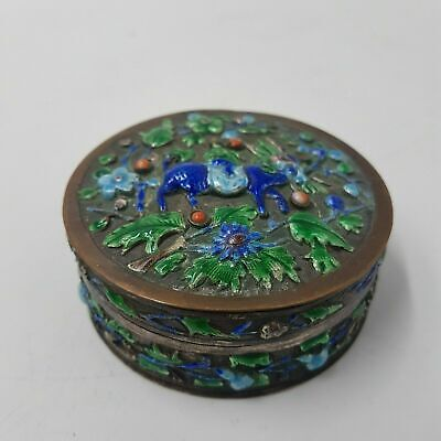 China Chinese Qing Dynasty Silver Cloisonne Cosmetic box