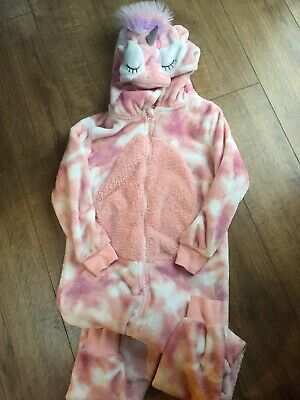 Pink Fluffy Unicorn NEXT All In One Sleep Suit With Hood. Age 12 Years
