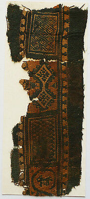 4-8C Ancient Coptic Textile Fragment - Rope Pattern, Christian Arts