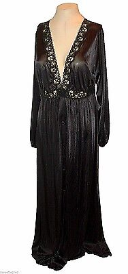 vintage 1970s, Robe cover-up, Shadowline, Black Lace Long sexy mint, L