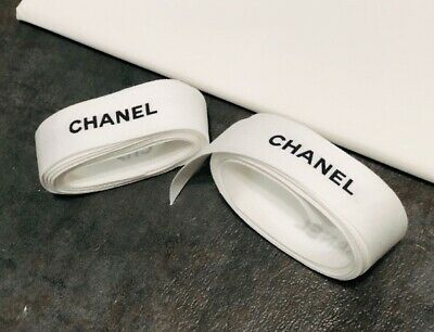 """1 CHANEL white gift Wrap ribbons 1"""" Width Approx 36"""" Inches Or 1 Yard (Used)"""
