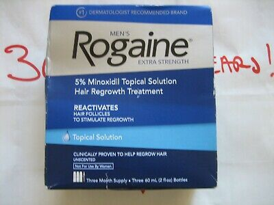 Mens Rogaine Extra Strength 5% Minoxidil Topical Solution 3 Month Supply 03/2022