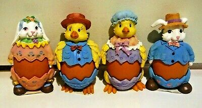 4 Pcs Boiled Egg Holder Stand Easter Eggs Cup Lids Ceramic Chicken Rabbit Cute
