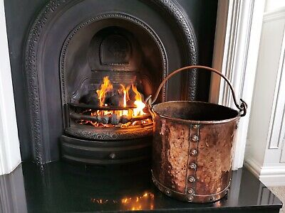 Antique Arts  & Crafts Coal Copper Hammered Bucket Scuttle Bin Planter