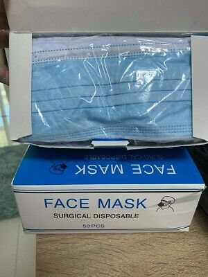 Face Mask Disposable Medical Dental Surgical 3 Ply  50 pcs/box