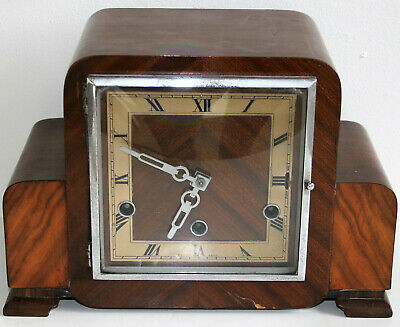 Antique Art Deco Mantle Wooden Clock with Westminster Chimes by Perivale Clocks
