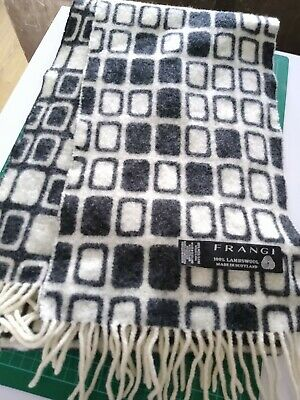 Frangi 100% Lambswool Men's Scarf Geometric Pattern Monochrome Made in Scotland
