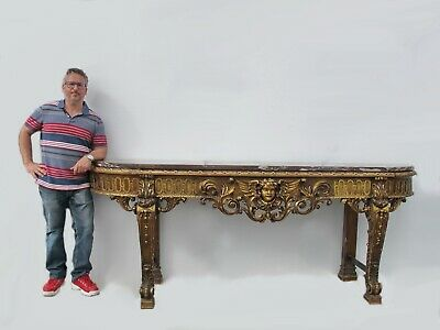 Large Antique French Louis XV style marble top console table # AR81