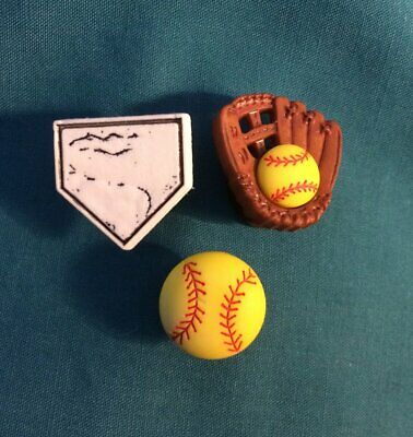 Cute Sports TRIO  SOFTBALL Mitt Base Button Croc Hole Accessories Shoe Charm