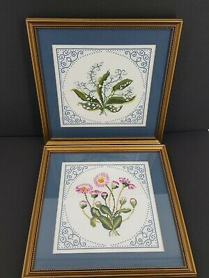 "Crosstitch Finished Floral Gold Framed Pictures (2) 13"" X 13"""