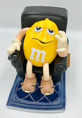 M & M Dispenser Yellow Peanut in BLACK in Lazy Boy Lounge Chair Vintage 1999