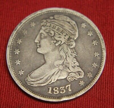 1837 US Mint Silver Coin 50c 50 cents Half Dollar Capped Bust, Free Shipping