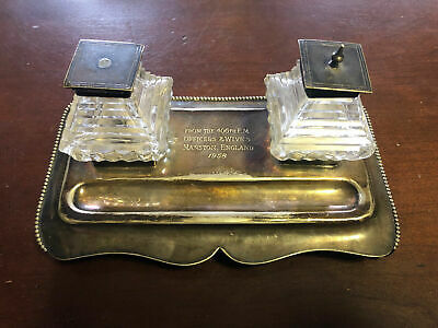 Joseph Rodgers & Sons EP Silver Plate Inkwell Desk Set