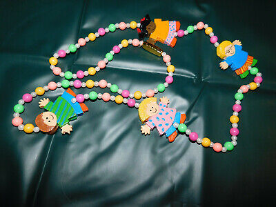 """Mardi Gras Necklace Beads With Kid Children Figures Bright Colors 45"""""""