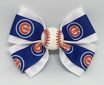"""Girls Hair Bow 4"""" Wide Chicago Cubs Baseball French Barrette, Clip or Ponytail"""