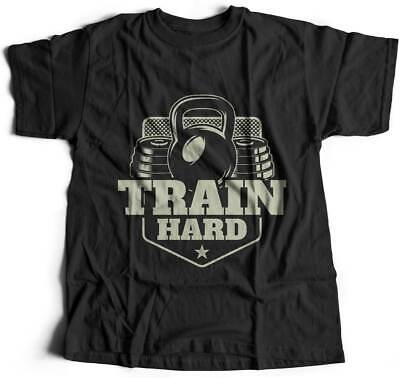 Train Hard Gym T-Shirt Work Out Train Hard Iron Workout Fitness Muscle No P B365