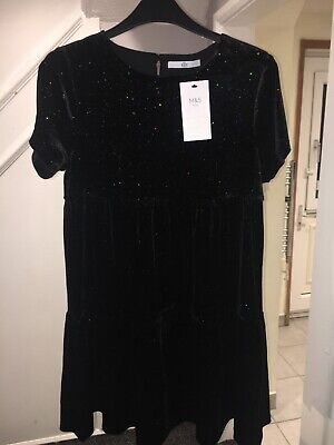 Marks And Spencer Girls 11-12 Years Black Sparkly Party Dress Brand New