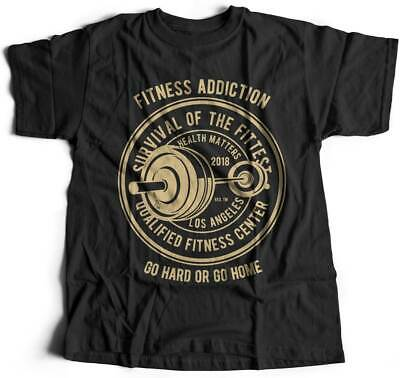 Fitness Addiction Gym T-Shirt Work Out Train Hard Iron Workout Fitness Musc B403