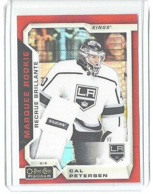 2015-16 O-Pee-Chee Platnum #169 Cal Petersen Red Prism Marquee Rookie #/199