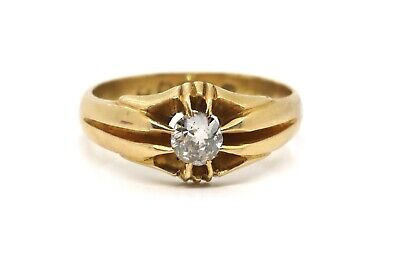 Fine Antique Victorian 1898 18ct Gold 0.50ct Diamond Solitaire Gypsy Style Ring
