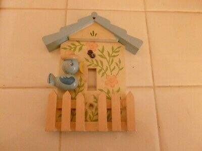 Adorable Vintage Wood Light Switch Cover For Child's Room with Bluebird & Fence