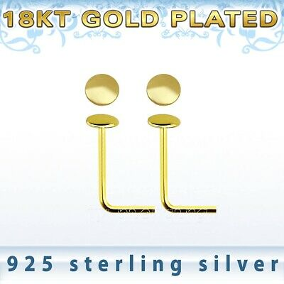 22g ~1.5mm ball 18k Gold Plated .925 Sterling Silver L-Shaped Nose Stud 3pcs