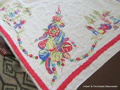 """1950s Tablecloth Mexican Vegetable Themed Printed Cotton 50"""" square Colorful!"""