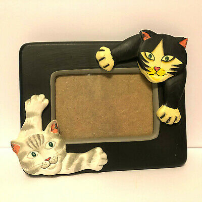 Cats Kittens Resin Picture Photo Frame Black Kitty White Cat