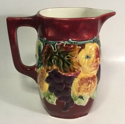 Bohemian Czech Majolica Fruit Pitcher c.Post WWI 1920s