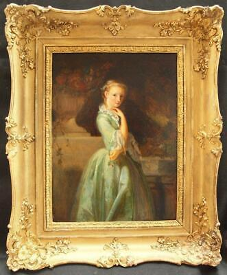 LARGE FINE 19th Century PORTRAIT YOUNG LADY ON A BALCONY Antique Oil Painting