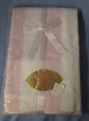 J C Penney Pencale 100% cotton percale pillowcases white w/ pink - new in pkg