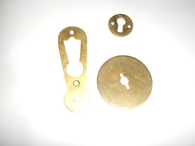 3 Brass Key Hole Covers Antique  1910