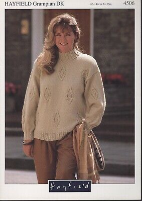 """BK9 Woman/'s Cable Polo Neck Sweater //7 Sizes 32-44/"""" Chest KNITTING PATTERN"""