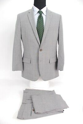 J.Crew Thompson Voyager Suit 2Btn Light Gray Wool Flat Front Slim 40R