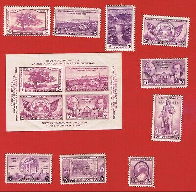#772-784  MF-VFH  OG 1935-36 Commemoratives w/SS  Free S/H