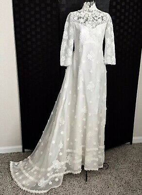 VTG 1960s Teeny by Priscilla of Boston Lace Embroidered Bridal Wedding Gown XXS