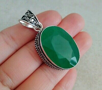 """Natural Oval Green Emerald 925 Sterling Silver Pendant 2"""" Necklace Charm Filigre"""