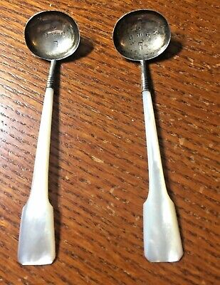 Mother of Pearl handle salt spoons, hallmarks on silver bowl, antique