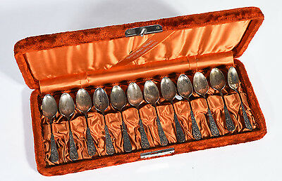 Antique Set of 12 Towle Sterling Silver Demitasse Spoons Pattern #7 Original Box
