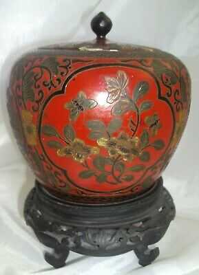 Fine Old Chinese Carved Cinnabar Lacquered Lacquer Enamel Lidded Box Jar w/Stand